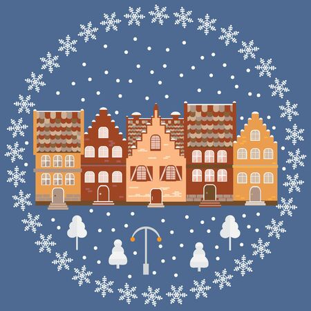ice brick: Vector illustration houses in the snow. Design element for postcard, banner, flyer or print. Christmas card. Illustration