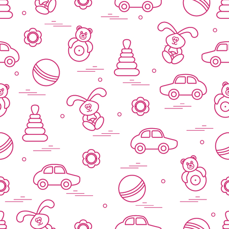 Vector pattern of different toys: car, pyramid, roly-poly, ball, hare, rattle. Design element for postcard, banner, flyer, poster or print.