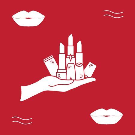 Ilustración del vector con la mano sosteniendo un varios tubos de lápiz labial. estilo de moda de la moda del encanto. Ilustración de vector