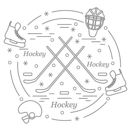 puck: Vector illustration of various subjects for hockey arranged in a circle. Including icons of helmet, skates, goalkeeper mask, stick, puck. Winter elements made in line style.