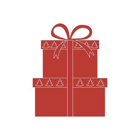 donative: Vector illustration of gift boxes decorated Christmas trees on a white background. Illustration
