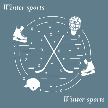 bandy: Vector illustration of various subjects for hockey arranged in a circle. Including icons of helmet, skates, goalkeeper mask, hockey stick, puck. Illustration