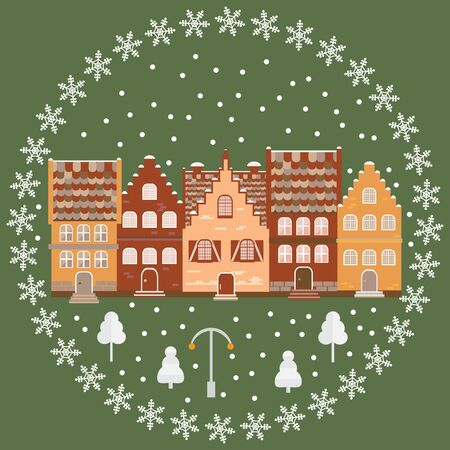 Vector illustration houses in the snow. Design element for postcard, banner, flyer or print. Christmas card. Illustration