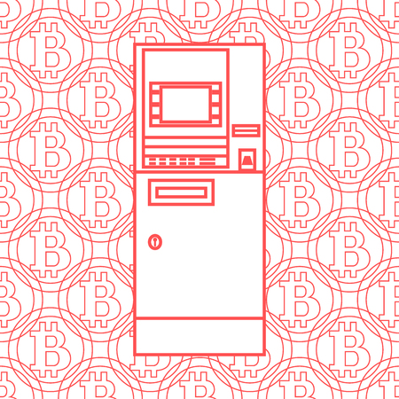 automatic teller machine: Stylized icon of a colored automatic teller machine or ATM on a bitcoins background.