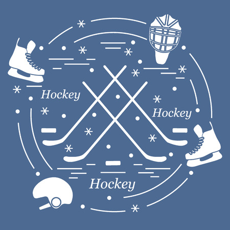 hurl: Vector illustration of various subjects for hockey arranged in a circle. Including icons of helmet, skates, goalkeeper mask, hockey stick, puck. Illustration