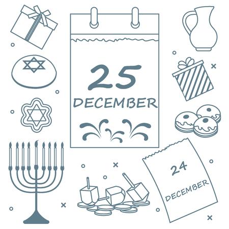 Vector illustration: Jewish holiday Hanukkah: calendar, gifts, dreidel, sivivon, menorah, coins, donuts and other. Design for postcard, banner, flyer, poster or print. Illustration