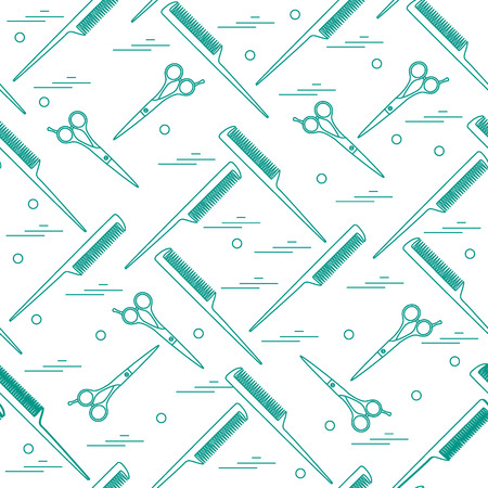 Cute pattern of scissors for cutting hair and combs. Design for banner, flyer, poster or print.