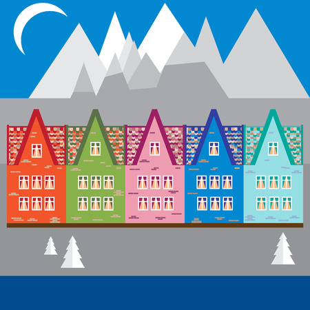 european alps: Vector illustration houses in the mountains. Design element for postcard, banner, flyer or print.