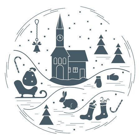 Vector illustration of different new year and christmas symbols arranged in a circle.