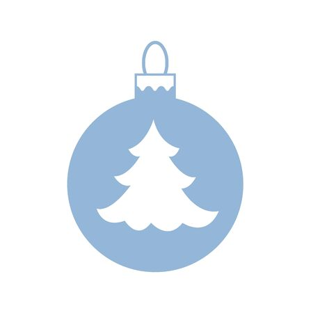 Vector icon Christmas ball with silhouette of Christmas tree on white background.