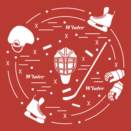 brassy: Vector illustration of various subjects for hockey arranged in a circle. Including icons of helmet, gloves, skates, goalkeeper mask, stick, puck. Illustration