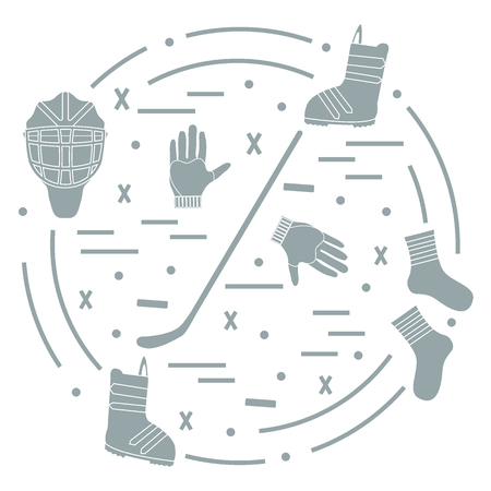 hurl: Vector illustration of various subjects for hockey and snowboarding arranged in a circle. Including icons of helmet, gloves, stick, puck, socks, snowboard boots.