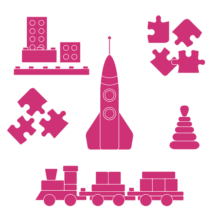Vector illustration kids toys objects: train, puzzle, rocket, pyramid, blocks. Design element for postcard, banner, flyer or print.