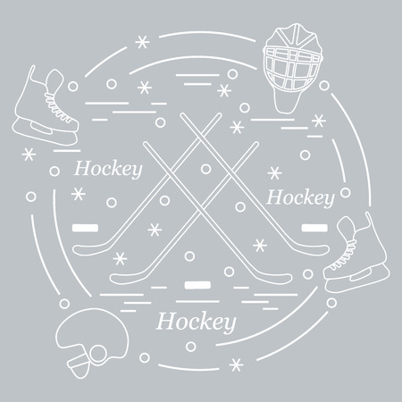 bandy: Vector illustration of various subjects for hockey arranged in a circle. Including icons of helmet, skates, goalkeeper mask, stick, puck. Winter elements made in line style.