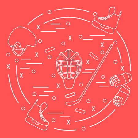 Vector illustration of various subjects for hockey arranged in a circle. Including icons of helmet, gloves, skates, goalkeeper mask, stick, puck. Winter elements made in line style.