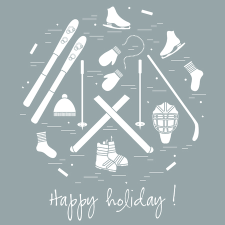 circl: Vector illustration of different elements of sports equipment and clothing for winter sports arranged in a circl. For postcard, invitation, banner, flyer or other polygraphy and design.