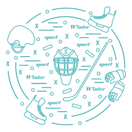 hurl: Vector illustration of various subjects for hockey arranged in a circle. Including icons of helmet, gloves, skates, goalkeeper mask, stick, puck. Winter elements made in line style.