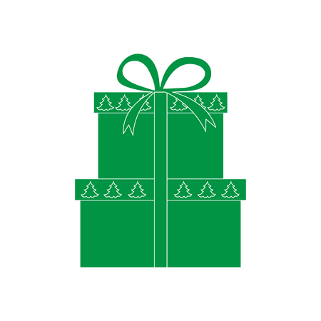 donative: Vector illustration of gift boxes decorated Christmas trees. Design element for postcard, invitation, banner, flyer or other polygraphy and design. Illustration