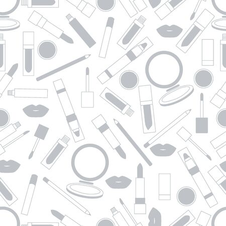 vogue style: Seamless pattern of different lip make-up tools. Vector illustration of lipsticks, mirror, lip liner, lip gloss, lip. Glamour fashion vogue style. Illustration