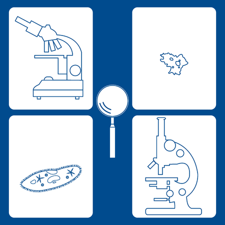 protista: Stylized icons of microscopes, magnifier, amoeba, ciliate-slipper. Magnifying device sign. Laboratory equipment symbol.