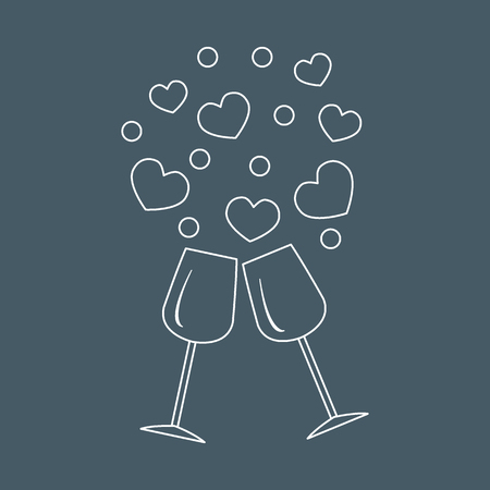 Cute vector illustration of two stemware with hearts. Design for banner, flyer, poster or print. Greeting card Valentines Day.