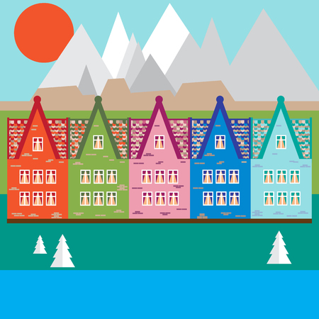 Vector illustration houses in the mountains. Design element for postcard, banner, flyer or print.