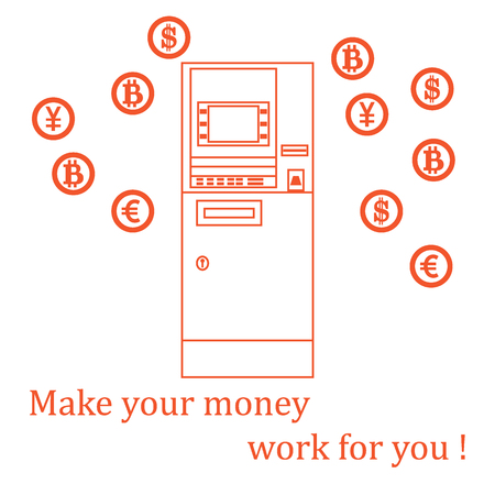 pincode: Stylized icon of a colored automatic teller machine or ATM and different types of currency and Bitcoins. Design for banner, poster or print.