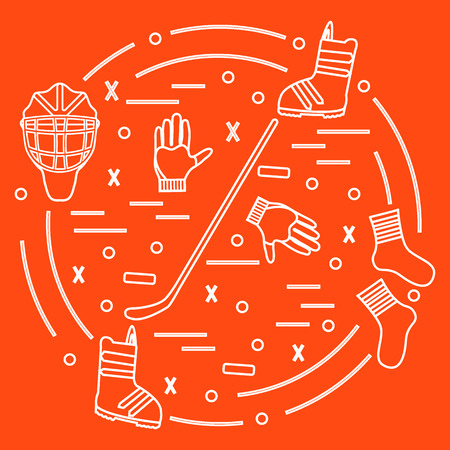 brassy: Vector illustration of various subjects for hockey and snowboarding arranged in a circle. Including icons of helmet, gloves, stick, puck, socks, snowboard boots. Winter elements made in line style.