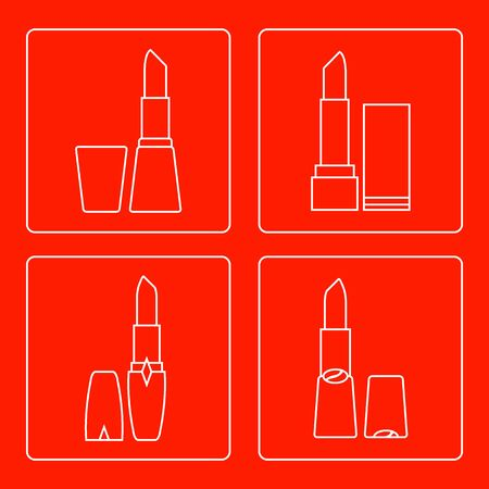 vogue style: Vector illustration with various tubes of  lipstick. Glamour fashion vogue style. Illustration