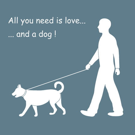 dog walking: Silhouette of a man walking a dog on a leash. Label for pet shop. Design element for postcard, banner, flyer.