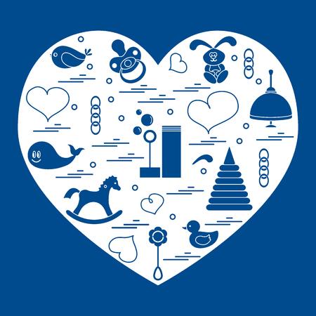 ilustración niños elementos dispuestos en un corazón