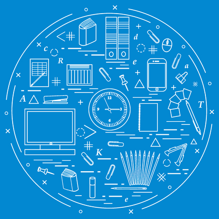 engrapadora: Set of different office objects arranged in a circle. Including icons of paper clips, buttons, pencils, glue, monitor, clock and other on white background.