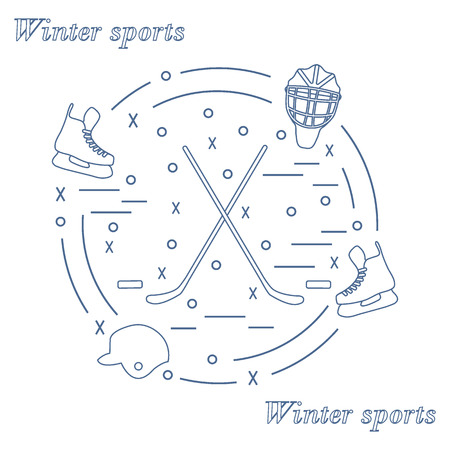 hurl: illustration of various subjects for hockey arranged in a circle. Including icons of helmet, skates, goalkeeper mask, stick, puck. Winter elements made in line style.