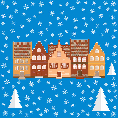 illustration houses in the snow. Design element for postcard, banner or print. Christmas card. Illustration