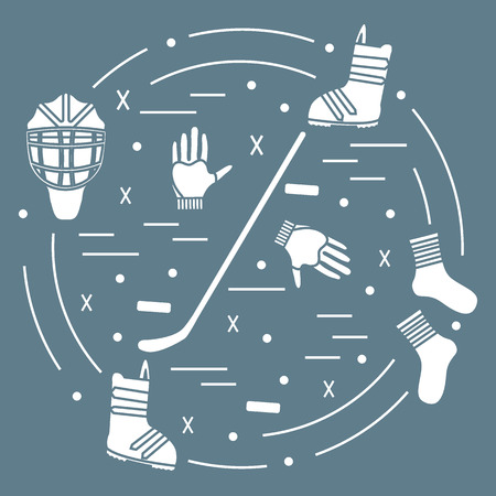 hurl: illustration of various subjects for hockey and snowboarding arranged in a circle. Including icons of helmet, gloves, stick, puck, socks, snowboard boots.
