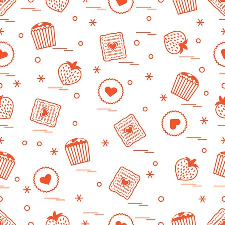 Cute seamless pattern with different romantic sweets. Love concept. Design for banner, poster or print.