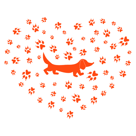 Nice picture of dachshund silhouette on a background of dog tracks in the form of heart on a white background. Illustration