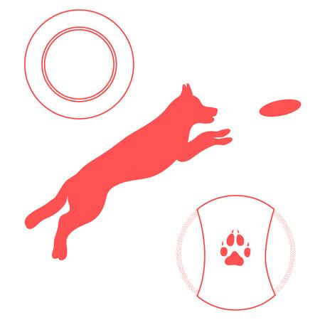 plastico pet: Silhouette of jumping dog. Label for pet shop. Design element for postcard, banner. Vectores