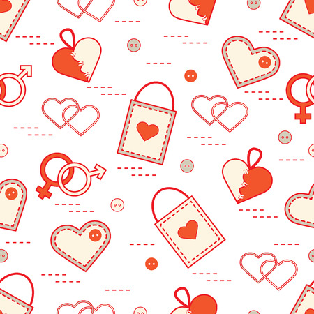 Cute seamless pattern with variety romantic elements. Greeting card Valentines Day. Design for banner, poster or print.