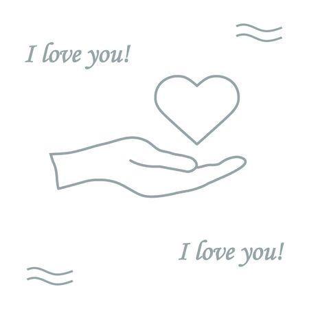 holds: Cute illustration: hand holds heart. Love symbol. Design for banner, poster or print.