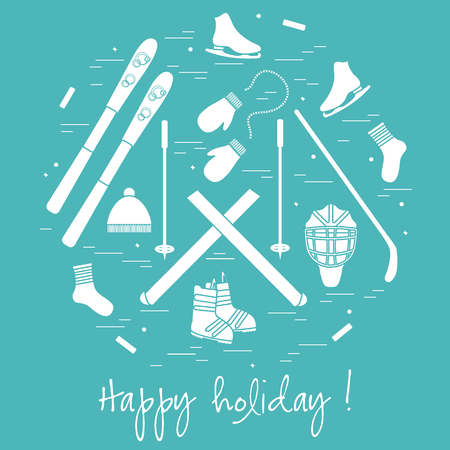 mitten: illustration of different elements of sports equipment and clothing for winter sports arranged in a circl. For postcard, invitation, banner or other polygraphy and design.