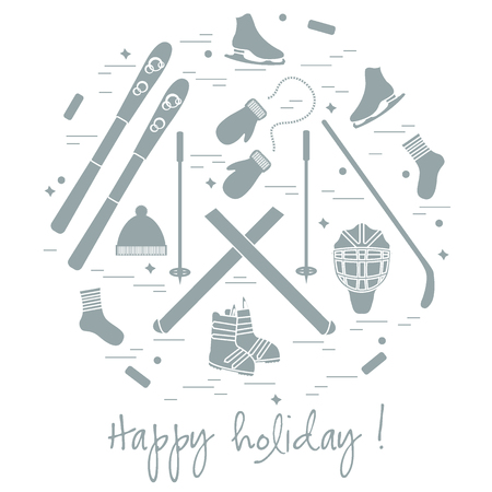 circl: illustration of different elements of sports equipment and clothing for winter sports arranged in a circl. For postcard, invitation, banner, or other polygraphy and design. Illustration