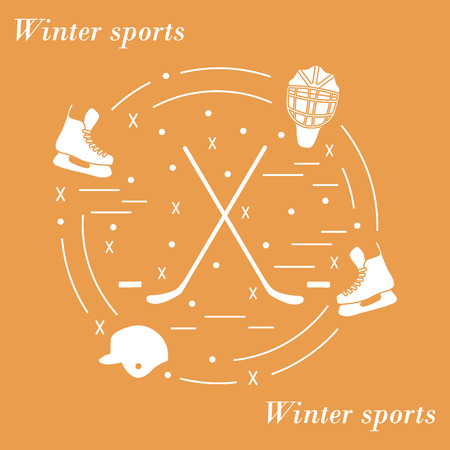 brassy: illustration of various subjects for hockey arranged in a circle. Including icons of helmet, skates, goalkeeper mask, hockey stick, puck. Illustration