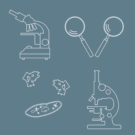 ameba: Stylized icons of microscopes, magnifiers, amoeba, ciliate-slipper. Magnifying device sign. Laboratory equipment symbol.