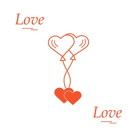 Cute illustration of love symbols: heart air balloons icon and two hearts. Romantic collection. Design for banner, poster or print.
