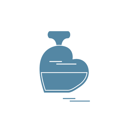 eau de perfume: Cute illustration of perfume bottle in the shape of heart. Design for banner, poster or print. Greeting card Valentine%u2019s Day. Illustration