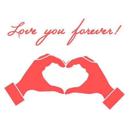Cute illustration: hand making a heart shape. Love symbol. Design for banner, poster or print. Illustration