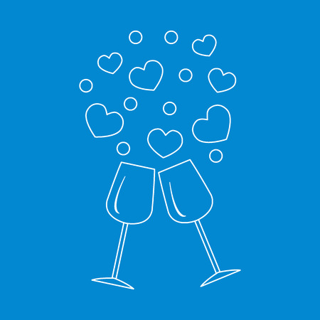 Cute illustration of two stemware with hearts. Design for banner, poster or print. Greeting card Valentines Day.