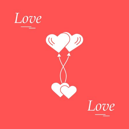 Cute Illustration Of Love Symbols Heart Air Balloons Icon And