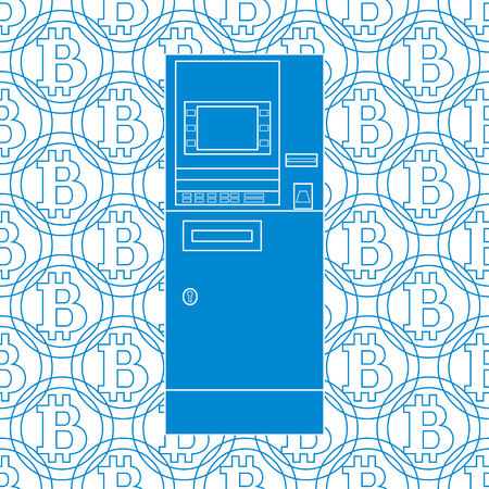 pincode: Stylized icon of a colored automatic teller machine or ATM on a bitcoins background.